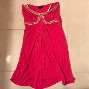 Sky hot pink mini dress with faux crystal, XS